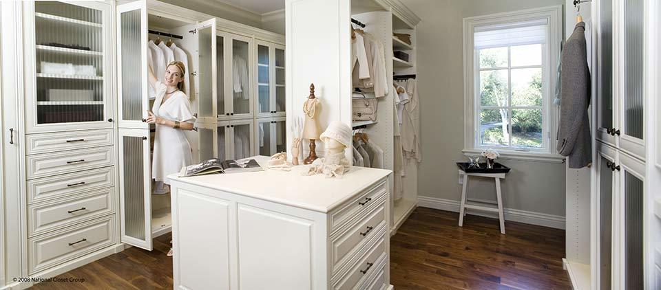 custom walk in closet, white closet, female getting ready