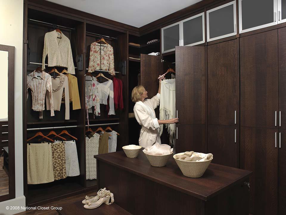 custom walk in closet, counter tops, shelves, wardrobes, shoes