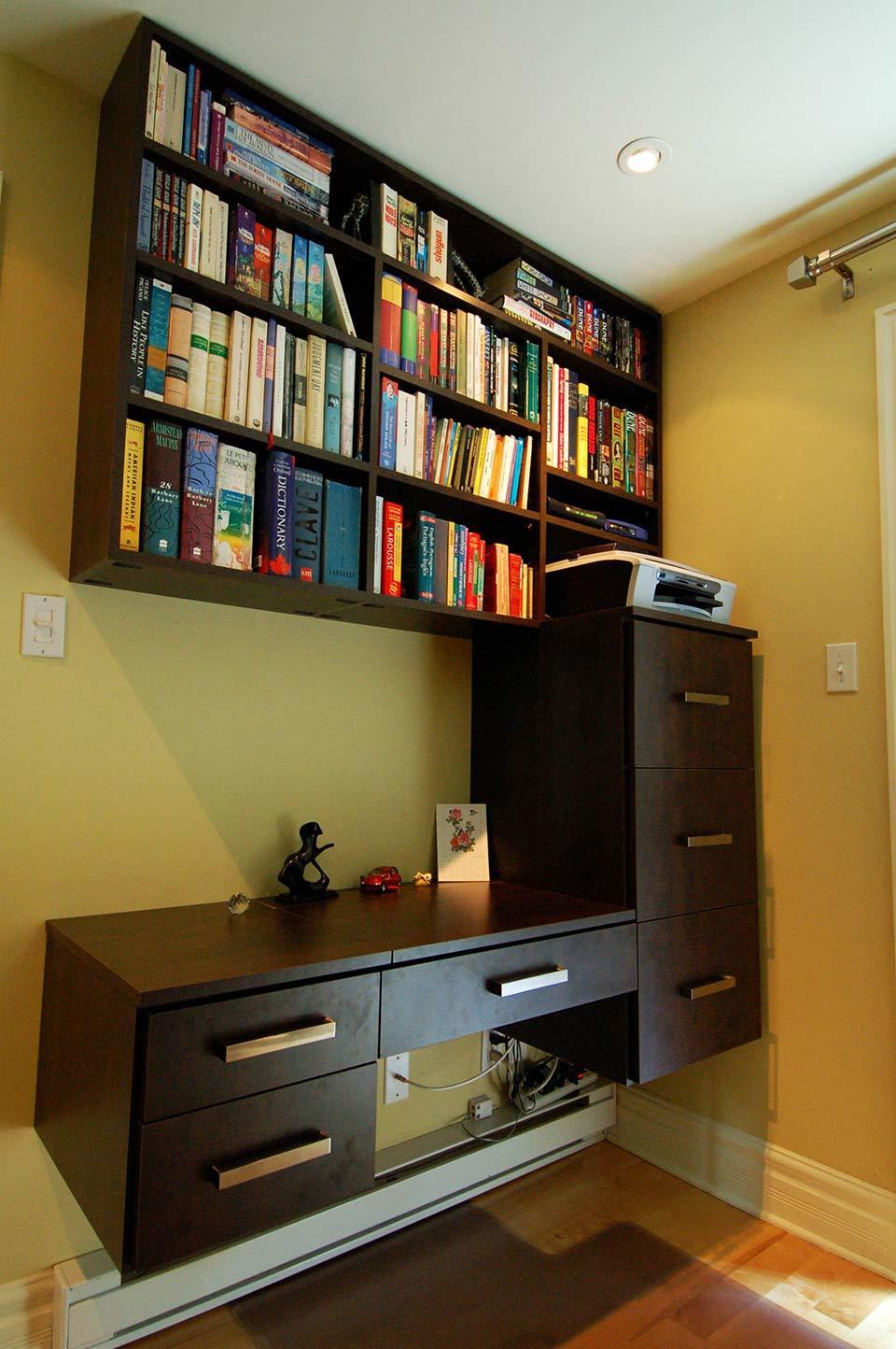 home office, desk, upper cabinets, bookshelves