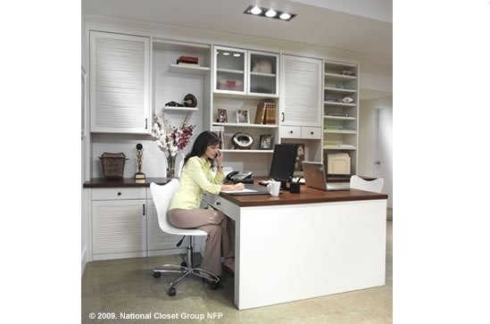 shared workspace, home office for two, custom home office in white