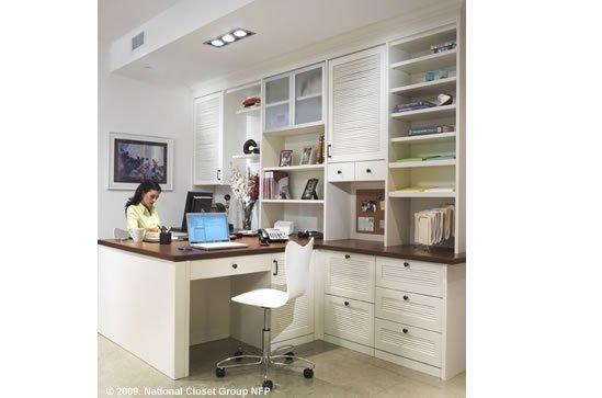 custom home office for 2, custom desk, custom bookshelves