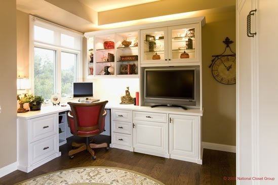 custom home office in white, bookshelves, upper cabinet, lower cabinet, desk, desktop, chair