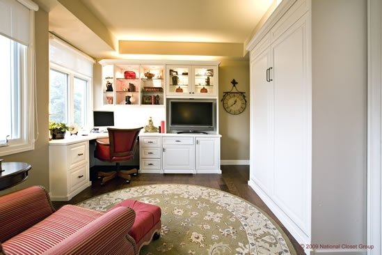 custom home office in white, upper cabinets, lower cabinets, desk, chair, monitor