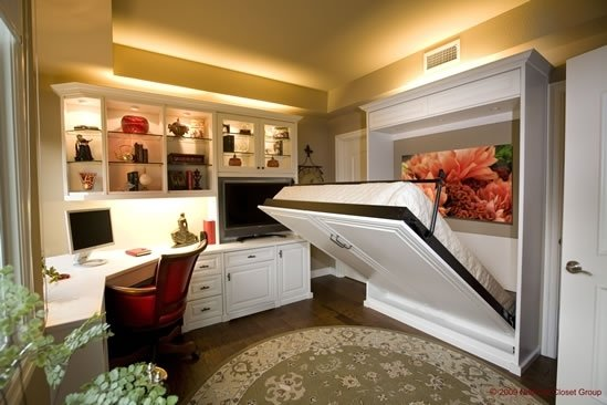 custom wall bed opening in home office, murphy bed, white cabinetry