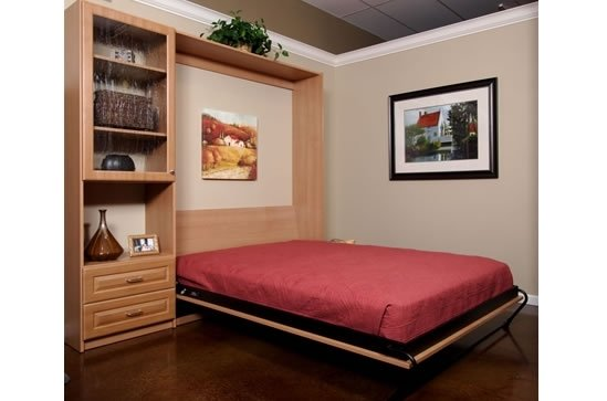 wall bed opened, dark wood