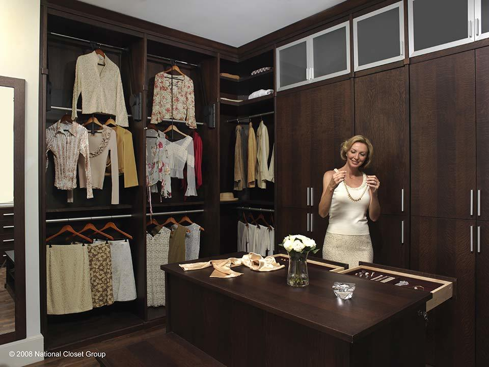 custom walk in closet, jewelry, drawers, lady getting ready