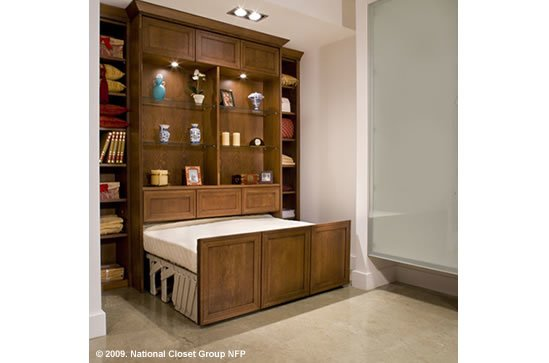 custom home wall bed, opening, custom cabinetry