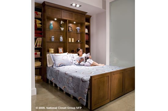 custom home wall bed, closed, custom cabinetry